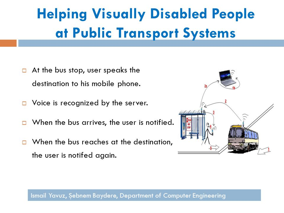 Helping Visually Disabled People at Public Transport Systems  At the bus stop, user speaks the destination to his mobile phone.