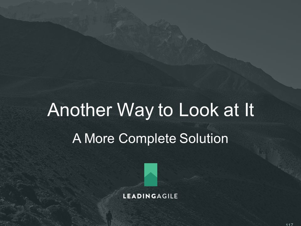 Another Way to Look at It A More Complete Solution ©2014 LeadingAgile LLC **ALL RIGHTS RESERVED** 117