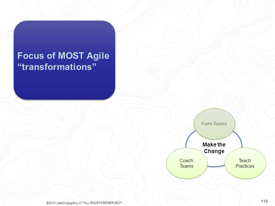 "Form Teams Teach Practices Coach Teams Make the Change Focus of MOST Agile ""transformations"" ©2014 LeadingAgile LLC **ALL RIGHTS RESERVED** 119"
