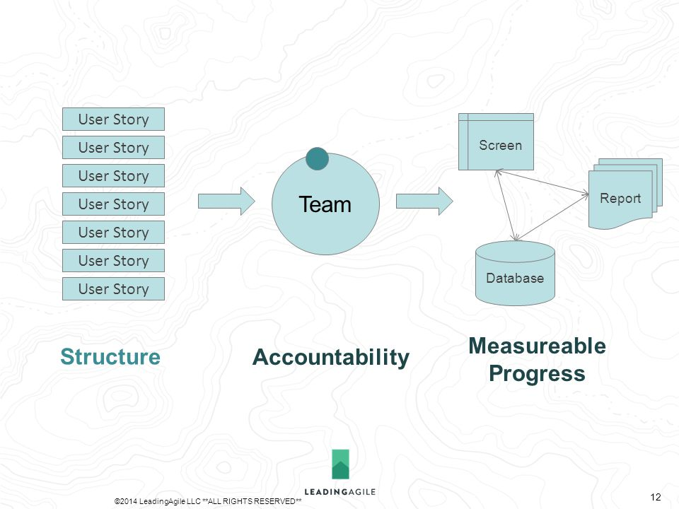 Team Database Report Screen User Story Structure Accountability Measureable Progress ©2014 LeadingAgile LLC **ALL RIGHTS RESERVED** 12