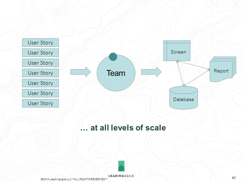 Team Database Report Screen User Story … at all levels of scale ©2014 LeadingAgile LLC **ALL RIGHTS RESERVED** 40