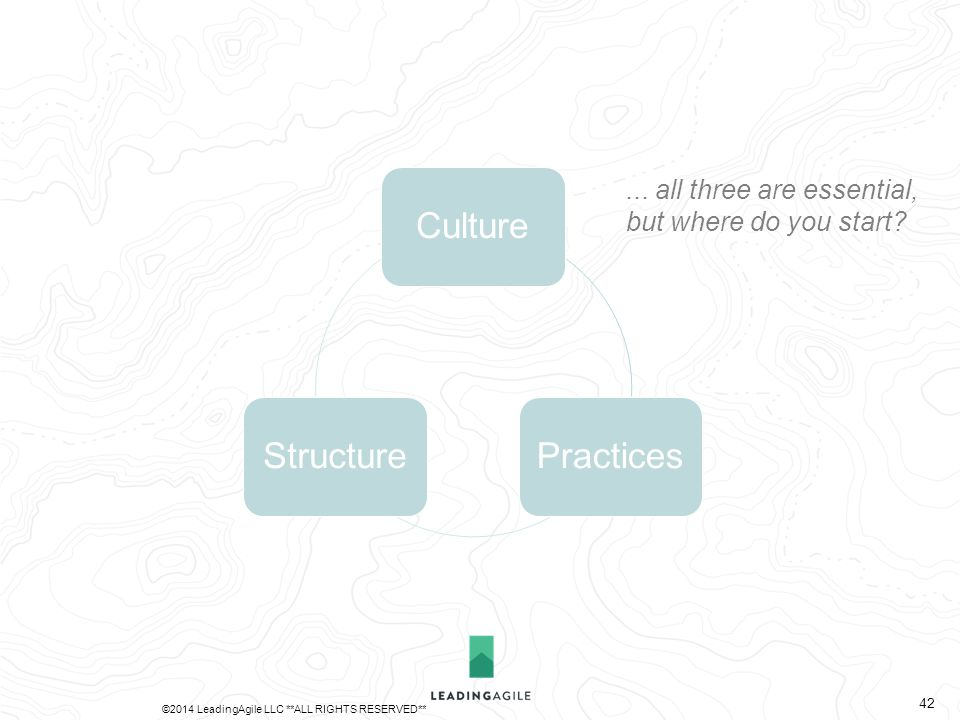 CulturePracticesStructure... all three are essential, but where do you start? ©2014 LeadingAgile LLC **ALL RIGHTS RESERVED** 42