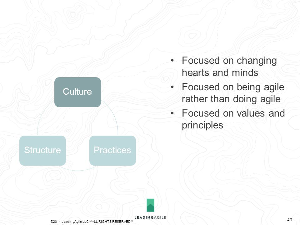 CulturePracticesStructure Focused on changing hearts and minds Focused on being agile rather than doing agile Focused on values and principles ©2014 L