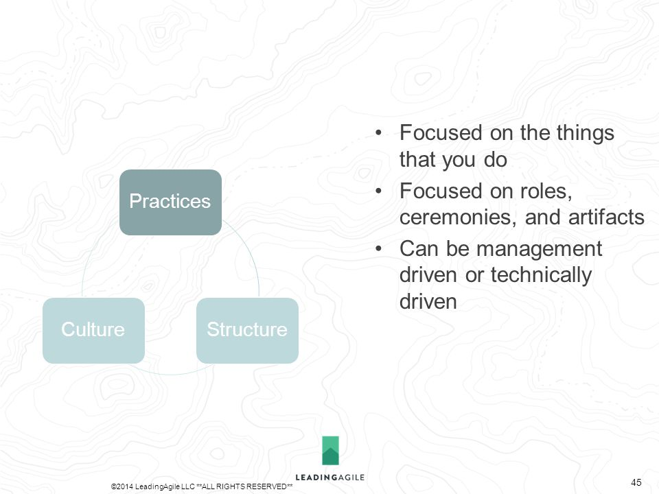 PracticesStructureCulture Focused on the things that you do Focused on roles, ceremonies, and artifacts Can be management driven or technically driven ©2014 LeadingAgile LLC **ALL RIGHTS RESERVED** 45