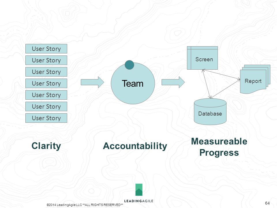 Team Database Report Screen User Story Clarity Accountability Measureable Progress ©2014 LeadingAgile LLC **ALL RIGHTS RESERVED** 64