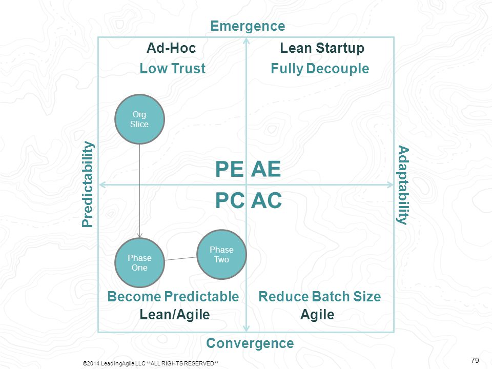 Predictability Adaptability Emergence Convergence AE PE PCAC Ad-Hoc Lean/AgileAgile Lean Startup Org Slice Low Trust Become PredictableReduce Batch Size Fully Decouple Phase One Phase Two ©2014 LeadingAgile LLC **ALL RIGHTS RESERVED** 79