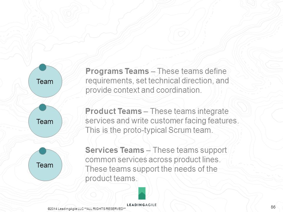 Services Teams – These teams support common services across product lines. These teams support the needs of the product teams. Team Product Teams – Th