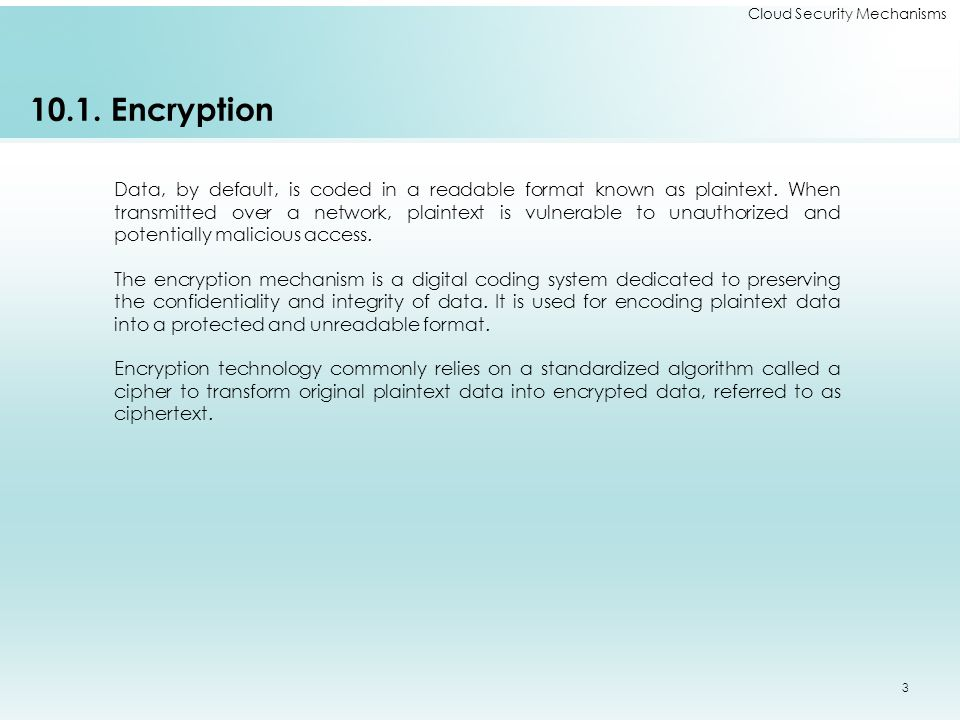10.1.Encryption Data, by default, is coded in a readable format known as plaintext.