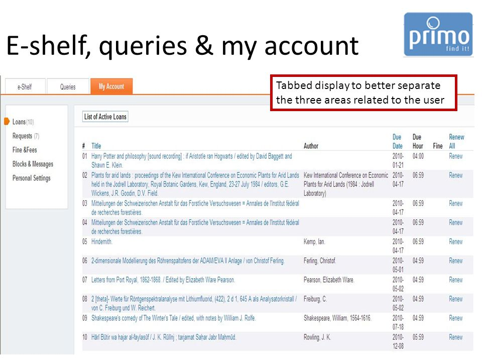 E-shelf, queries & my account Tabbed display to better separate the three areas related to the user