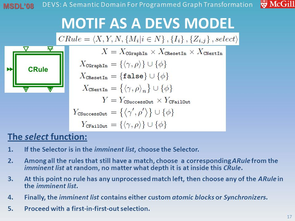 MSDL'08 MOTIF AS A DEVS MODEL 17 The select function: 1.If the Selector is in the imminent list, choose the Selector.