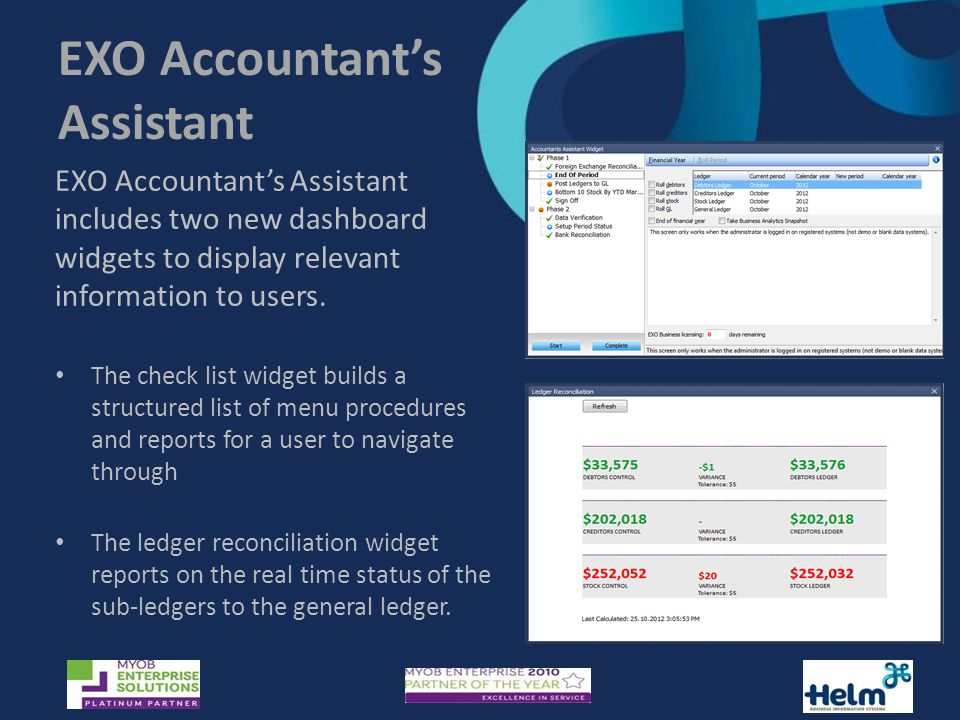 EXO Accountant's Assistant includes two new dashboard widgets to display relevant information to users.