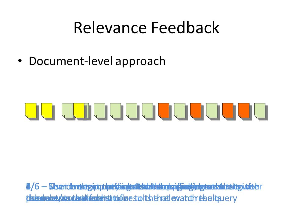 Focused Relevance Feedback Research aimed at determining whether relevance feedback approaches are effective when applied at a higher resolution Users provide feedback in terms of relevant passages, not documents
