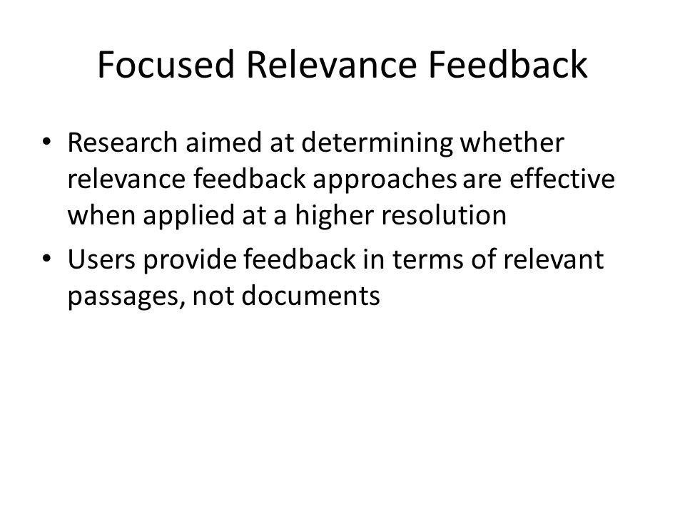 Relevance Feedback algorithms