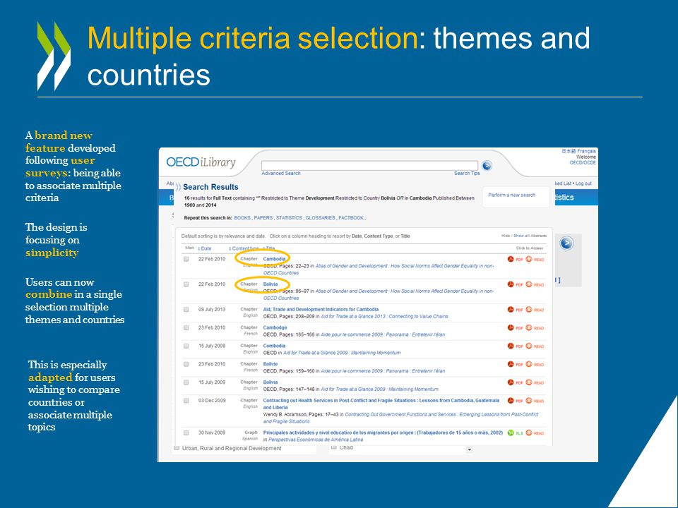 Multiple criteria selection: themes and countries A brand new feature developed following user surveys: being able to associate multiple criteria The design is focusing on simplicity Users can now combine in a single selection multiple themes and countries This is especially adapted for users wishing to compare countries or associate multiple topics