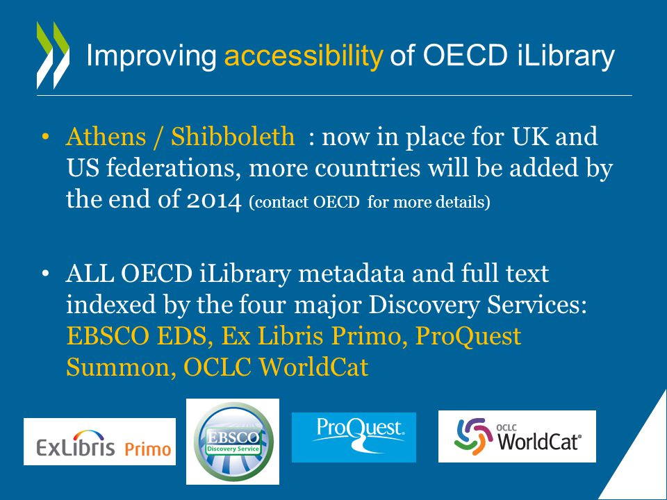 Improving accessibility of OECD iLibrary Athens / Shibboleth : now in place for UK and US federations, more countries will be added by the end of 2014 (contact OECD for more details) ALL OECD iLibrary metadata and full text indexed by the four major Discovery Services: EBSCO EDS, Ex Libris Primo, ProQuest Summon, OCLC WorldCat