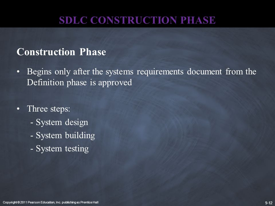 Copyright © 2011 Pearson Education, Inc. publishing as Prentice Hall 9-12 SDLC CONSTRUCTION PHASE Begins only after the systems requirements document