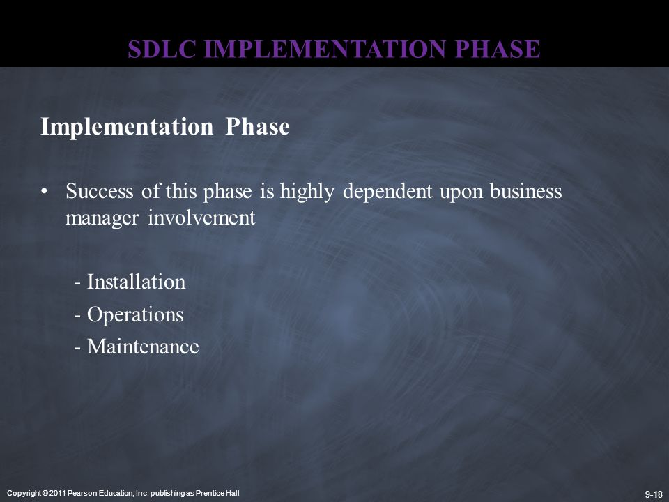 Copyright © 2011 Pearson Education, Inc. publishing as Prentice Hall 9-18 SDLC IMPLEMENTATION PHASE Success of this phase is highly dependent upon bus