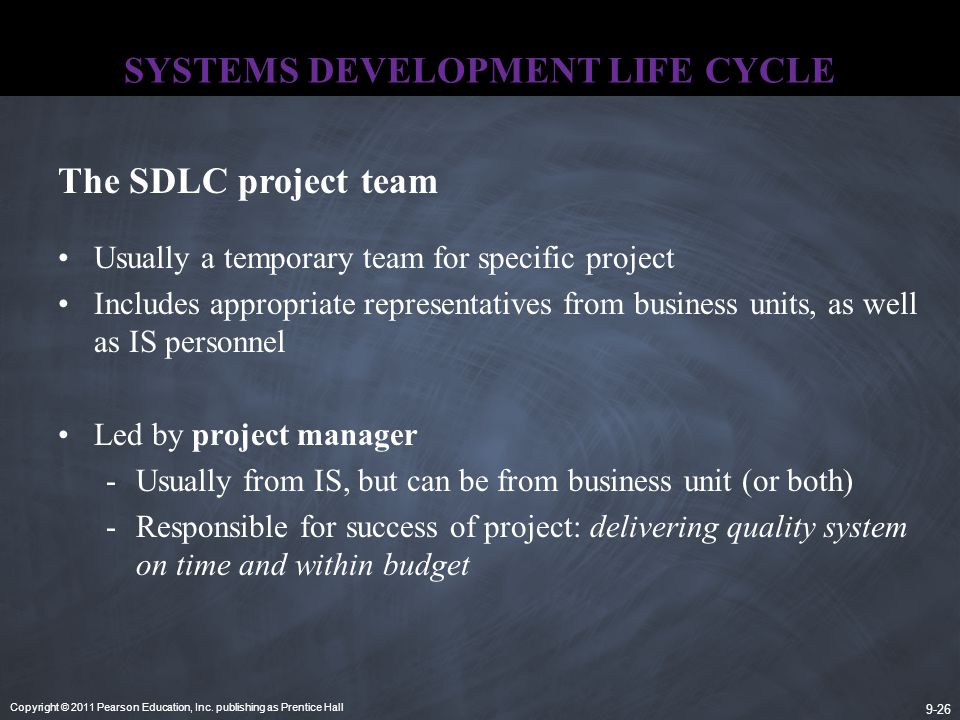 Copyright © 2011 Pearson Education, Inc. publishing as Prentice Hall 9-26 SYSTEMS DEVELOPMENT LIFE CYCLE Usually a temporary team for specific project