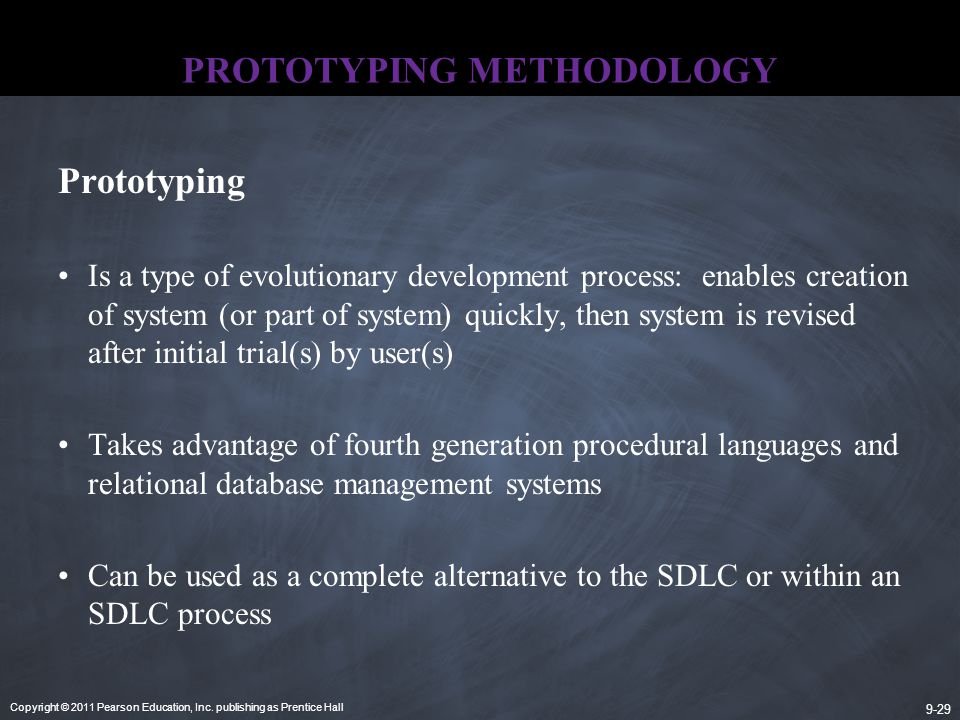 Copyright © 2011 Pearson Education, Inc. publishing as Prentice Hall 9-29 PROTOTYPING METHODOLOGY Prototyping Is a type of evolutionary development pr