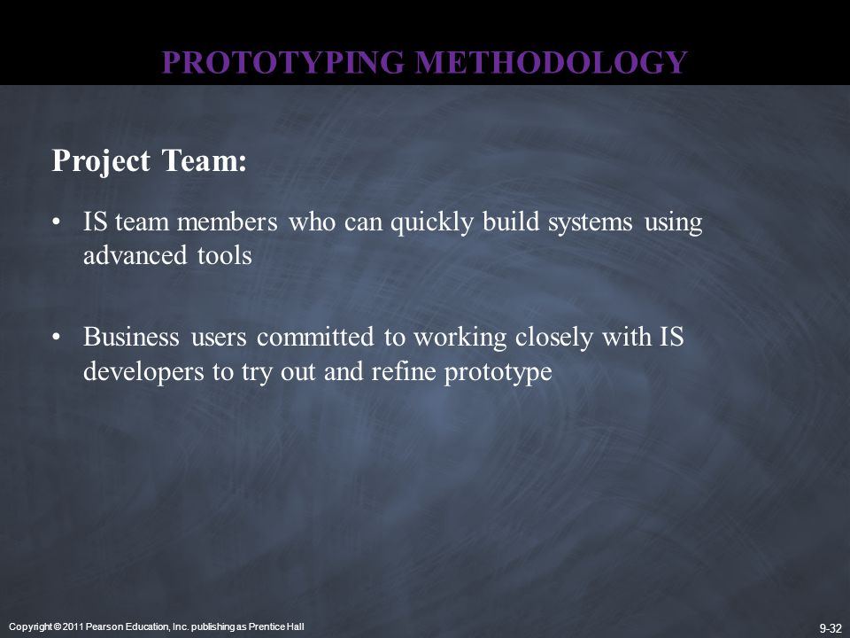 Copyright © 2011 Pearson Education, Inc. publishing as Prentice Hall 9-32 PROTOTYPING METHODOLOGY IS team members who can quickly build systems using