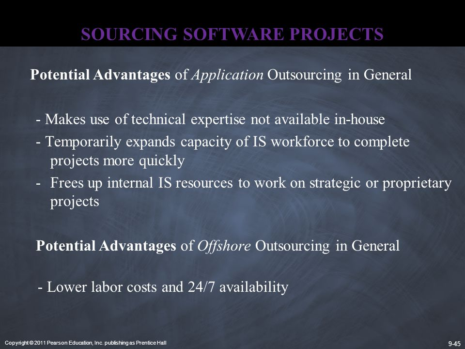 Copyright © 2011 Pearson Education, Inc. publishing as Prentice Hall 9-45 SOURCING SOFTWARE PROJECTS Potential Advantages of Application Outsourcing i