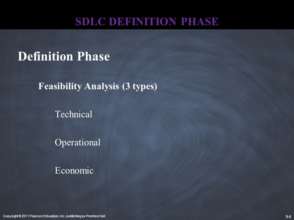 Copyright © 2011 Pearson Education, Inc. publishing as Prentice Hall 9-6 SDLC DEFINITION PHASE Feasibility Analysis (3 types) Technical Operational Ec