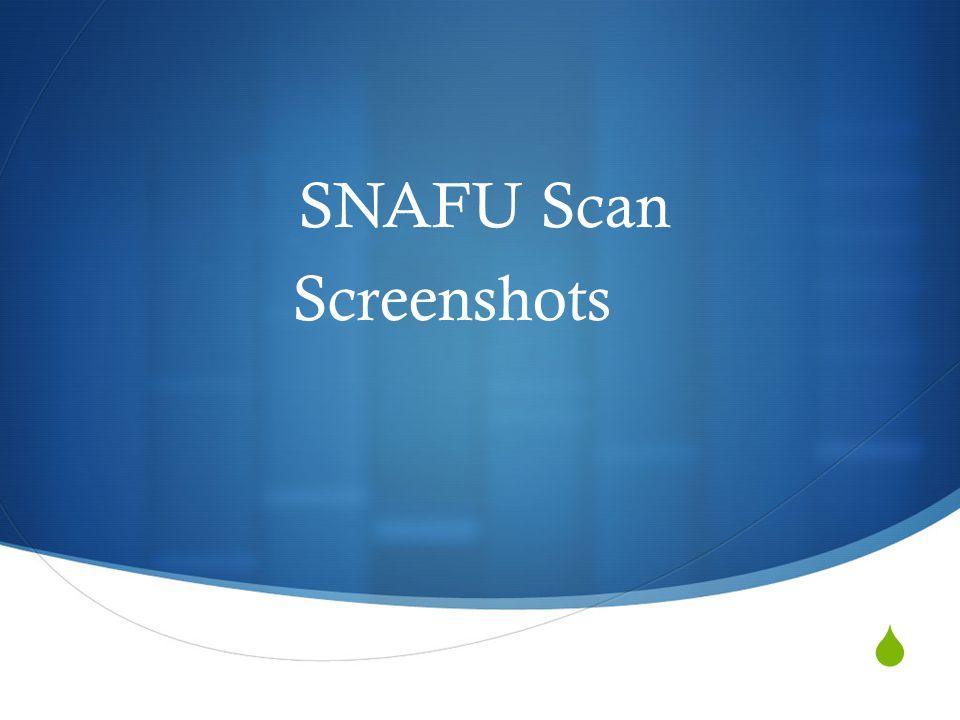 SPLASH SNAFU Scan's Welcome Screen.