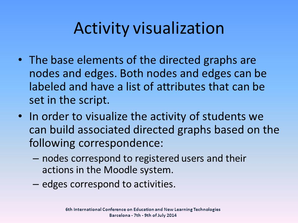 Activity visualization The base elements of the directed graphs are nodes and edges.