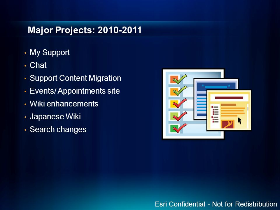 Major Projects: 2010-2011 My Support Chat Support Content Migration Events/ Appointments site Wiki enhancements Japanese Wiki Search changes Esri Conf