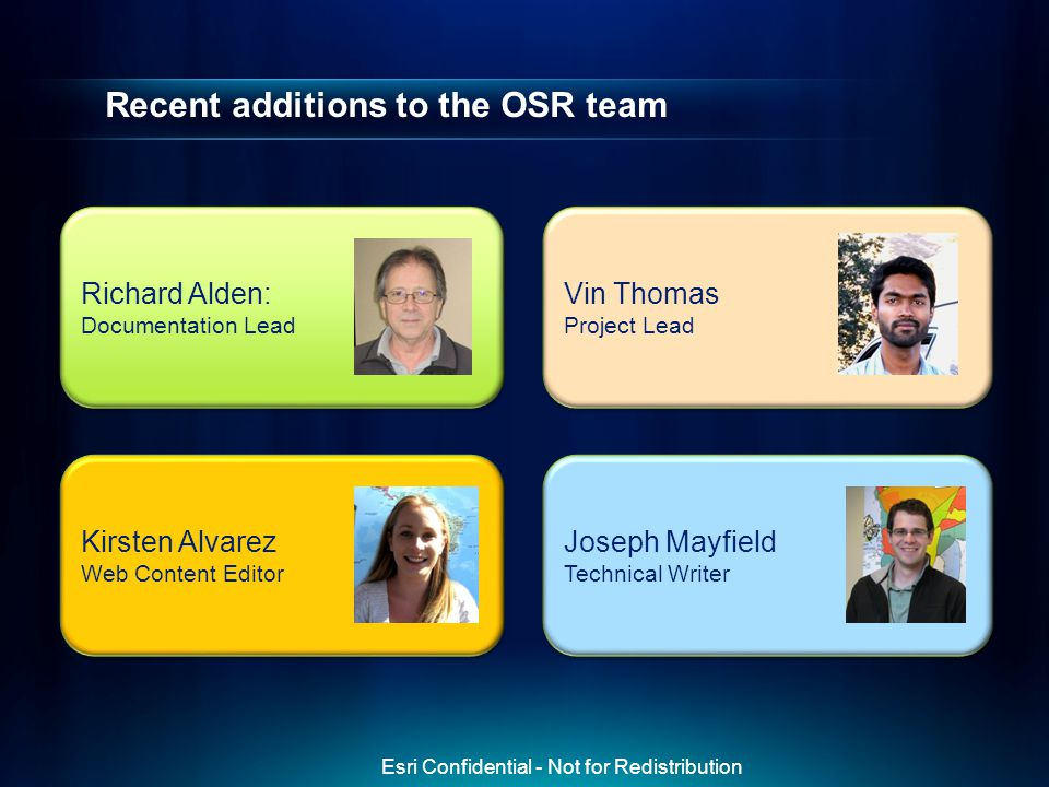 Recent additions to the OSR team Richard Alden: Documentation Lead Richard Alden: Documentation Lead Vin Thomas Project Lead Vin Thomas Project Lead K
