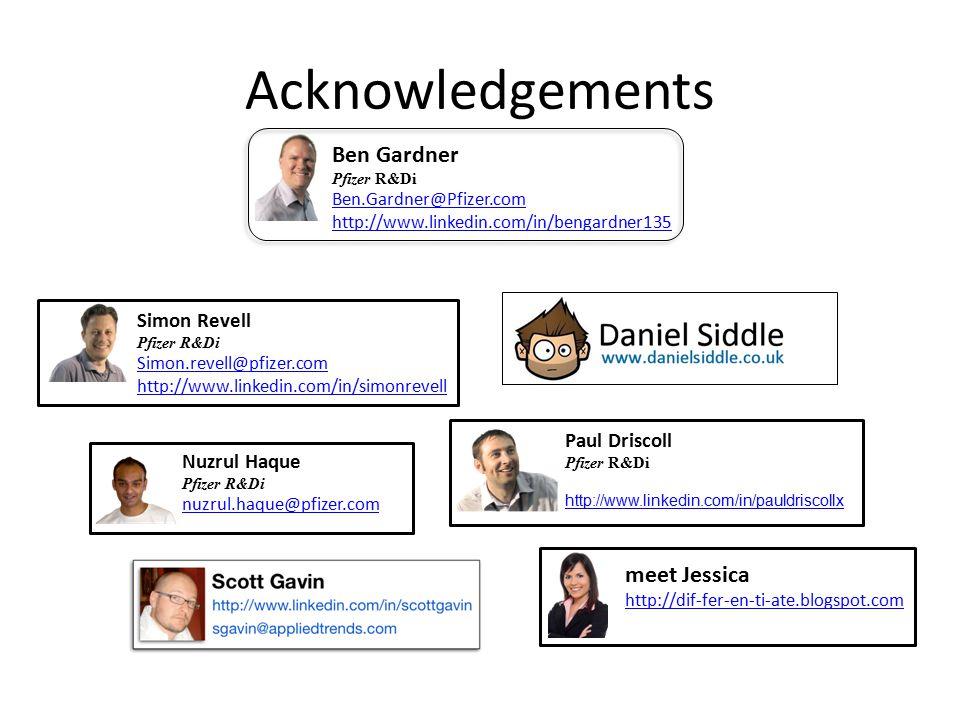 Acknowledgements Nuzrul Haque Pfizer R&Di nuzrul.haque@pfizer.com Ben Gardner Pfizer R&Di Ben.Gardner@Pfizer.com http://www.linkedin.com/in/bengardner