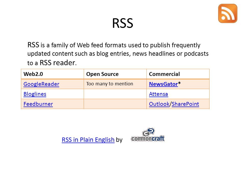 RSS Web2.0Open SourceCommercial GoogleReader Too many to mention NewsGatorNewsGator* BloglinesAttensa FeedburnerOutlookOutlook/SharePointSharePoint RSS is a family of Web feed formats used to publish frequently updated content such as blog entries, news headlines or podcasts to a RSS reader.