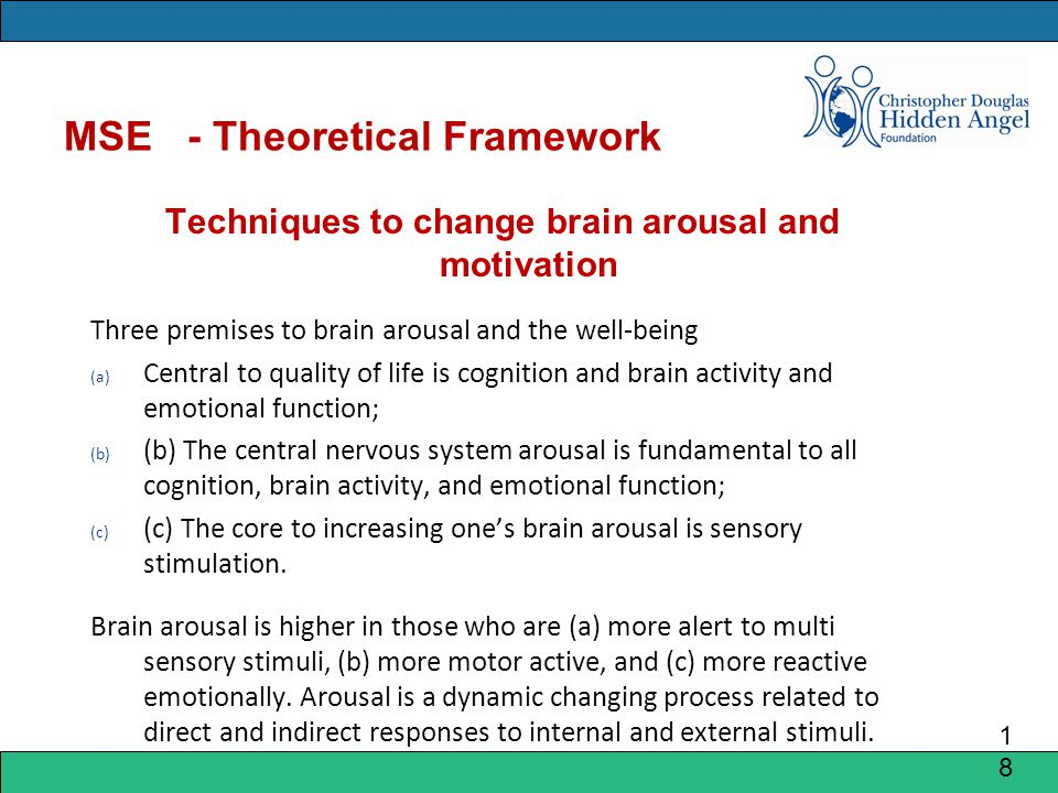 MSE - Theoretical Framework Techniques to change brain arousal and motivation Three premises to brain arousal and the well-being (a) Central to quality of life is cognition and brain activity and emotional function; (b) (b) The central nervous system arousal is fundamental to all cognition, brain activity, and emotional function; (c) (c) The core to increasing one's brain arousal is sensory stimulation.