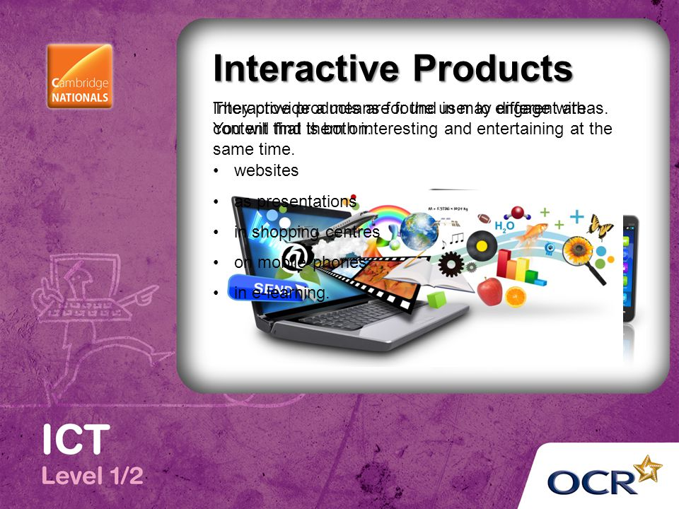 Interactive Products Interactive products are found in may different areas.