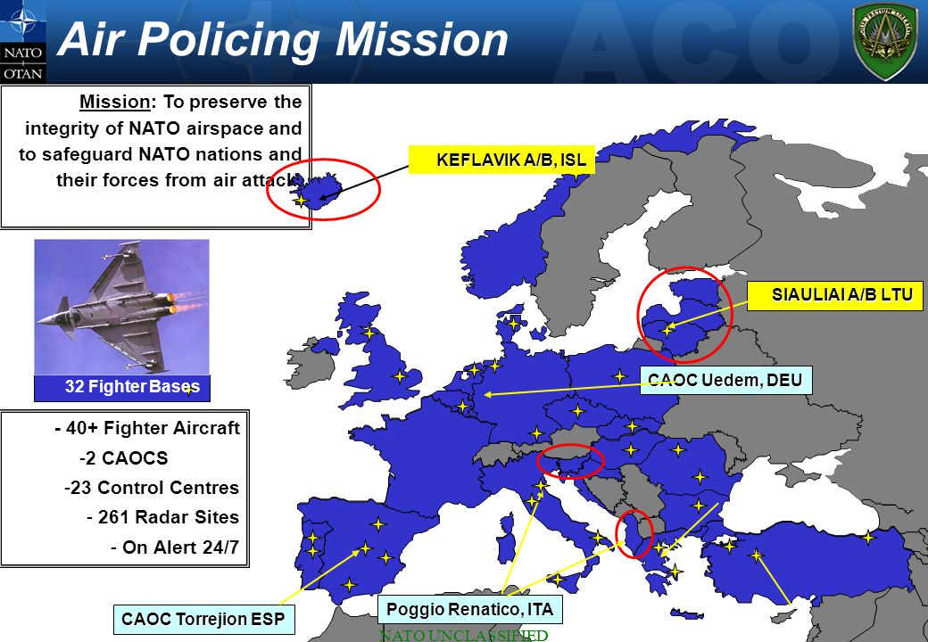 NATO UNCLASSIFIED 14 Mission: To preserve the integrity of NATO airspace and to safeguard NATO nations and their forces from air attack.