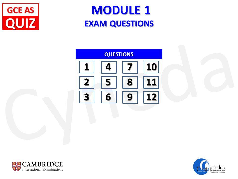 Cyneda MODULE 1 EXAM QUESTIONS MODULE 1 EXAM QUESTIONS GCE AS GCE AS QUESTIONS 14710 25811 36912 QUIZ