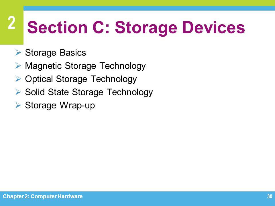 2 Section C: Storage Devices  Storage Basics  Magnetic Storage Technology  Optical Storage Technology  Solid State Storage Technology  Storage Wr