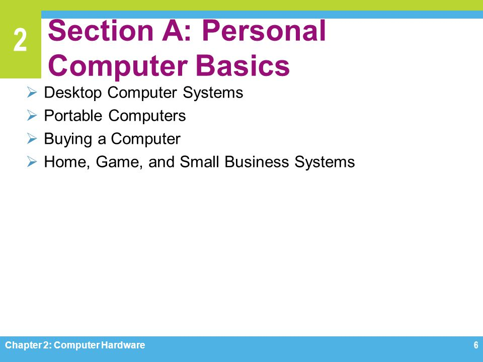 2 Section A: Personal Computer Basics  Desktop Computer Systems  Portable Computers  Buying a Computer  Home, Game, and Small Business Systems Cha