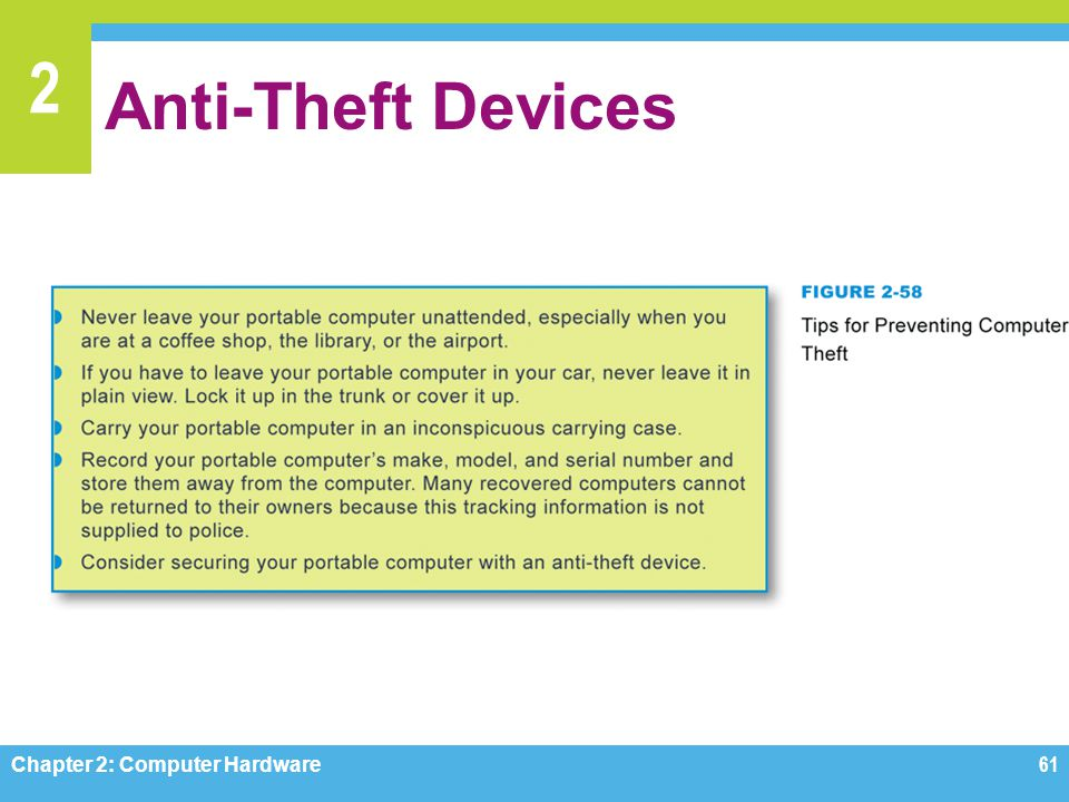 2 Anti-Theft Devices Chapter 2: Computer Hardware61