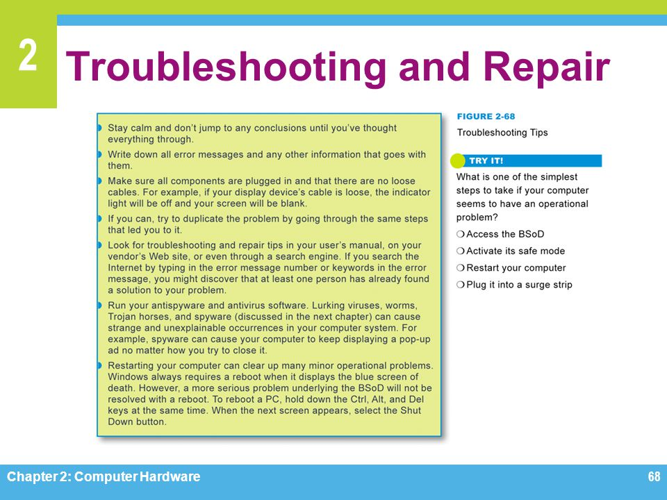 2 Troubleshooting and Repair Chapter 2: Computer Hardware68