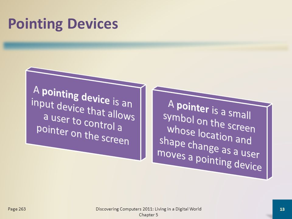 Pointing Devices Discovering Computers 2011: Living in a Digital World Chapter 5 13 Page 263