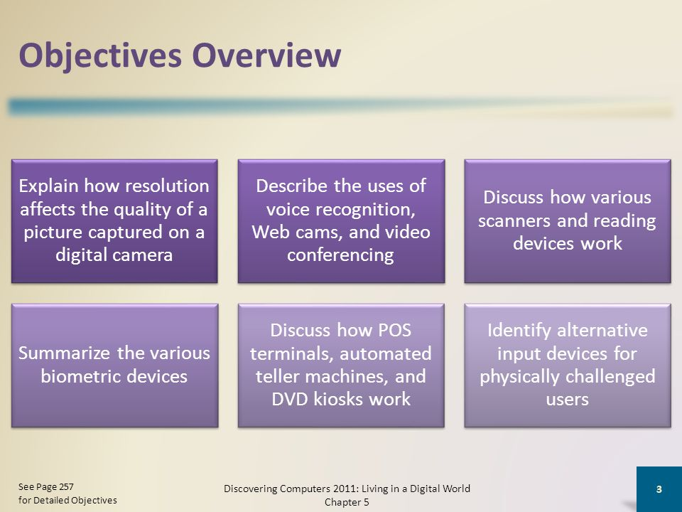 Objectives Overview Explain how resolution affects the quality of a picture captured on a digital camera Describe the uses of voice recognition, Web c