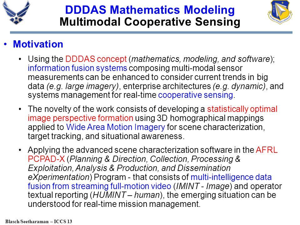 Blasch/Seetharaman – ICCS 13 DDDAS Mathematics Modeling Multimodal Cooperative Sensing Motivation Using the DDDAS concept (mathematics, modeling, and