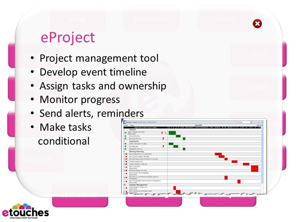 eReg eConnecteScan eWiki eRFP eMobile eMarketing eBooth eHome eSurvey eBudget eScheduler eSeatingeProject Project management tool Develop event timeline Assign tasks and ownership Monitor progress Send alerts, reminders Make tasks conditional