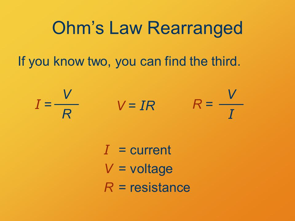 Ohm's Law Rearranged I = V R I = current V = voltage R= resistance If you know two, you can find the third.