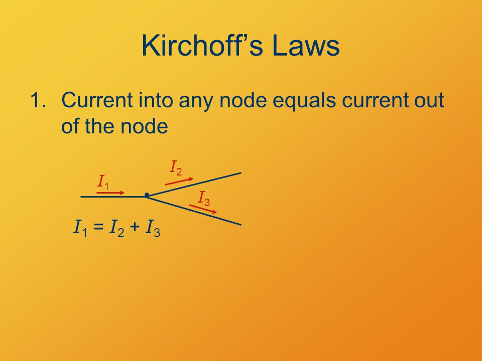 Kirchoff's Laws 1.Current into any node equals current out of the node I 1 = I 2 + I 3 I1I1 I2I2 I3I3