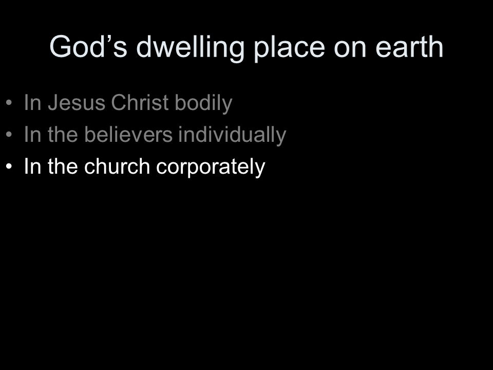 God's dwelling place on earth In Jesus Christ bodily In the believers individually In the church corporately