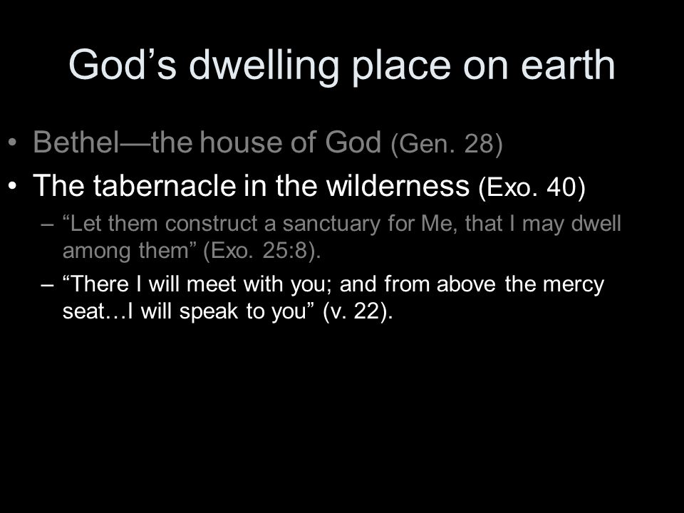 God's dwelling place on earth Bethel—the house of God (Gen.