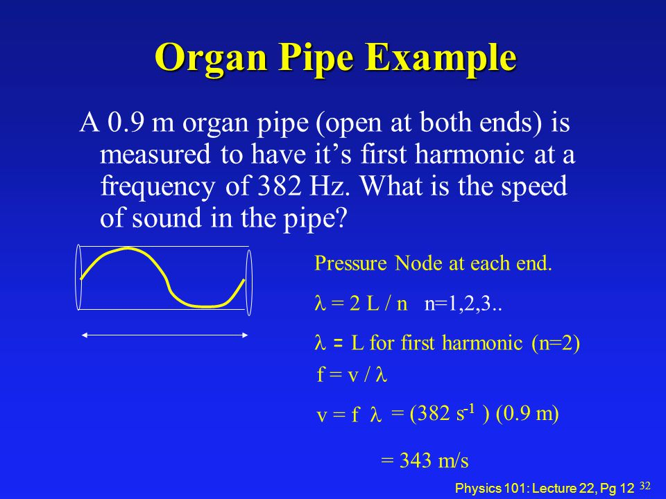 Physics 101: Lecture 22, Pg 11 Standing Waves in Pipes Open at both ends: Pressure Node at end  = 2 L / n n=1,2,3.. Open at one end: Pressure Anti