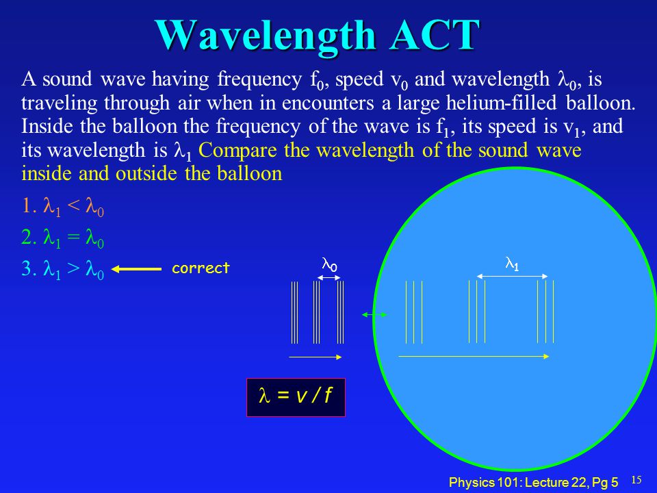 Physics 101: Lecture 22, Pg 4 Frequency ACT A sound wave having frequency f 0, speed v 0 and wavelength 0, is traveling through air when in encounters